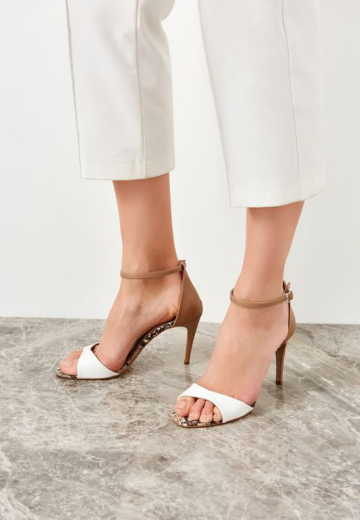 Ankle Strap High Heel Sandal - White