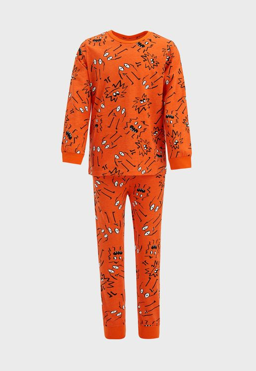 Kids Little Monster Print Pyjama Set