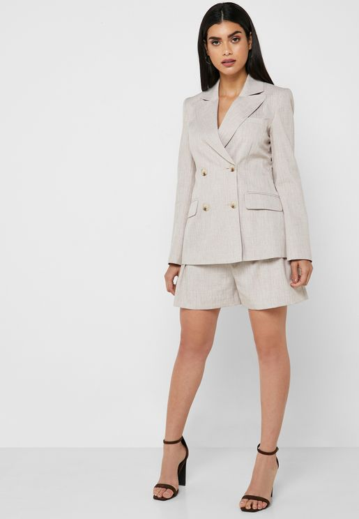 High Waist Linen Belted Shorts Co Ord