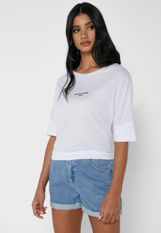 Alty Round Neck Slogan Crop Top