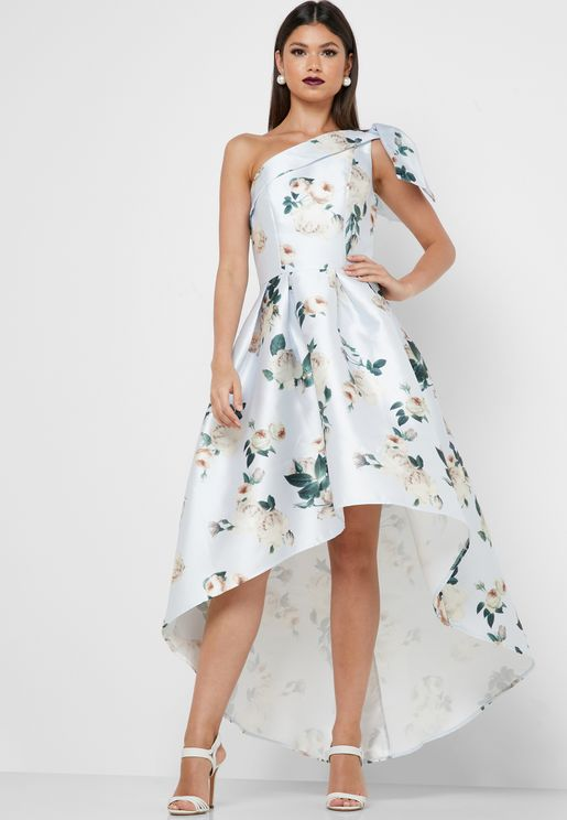 One Shoulder Floral Print Dress