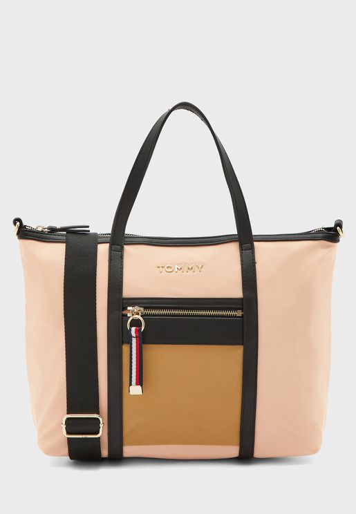 Front Zip Double Strap Handle Tote