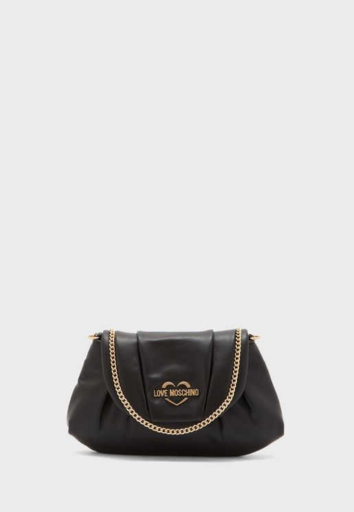 Casual Flap Over Chain Detail Crossbody