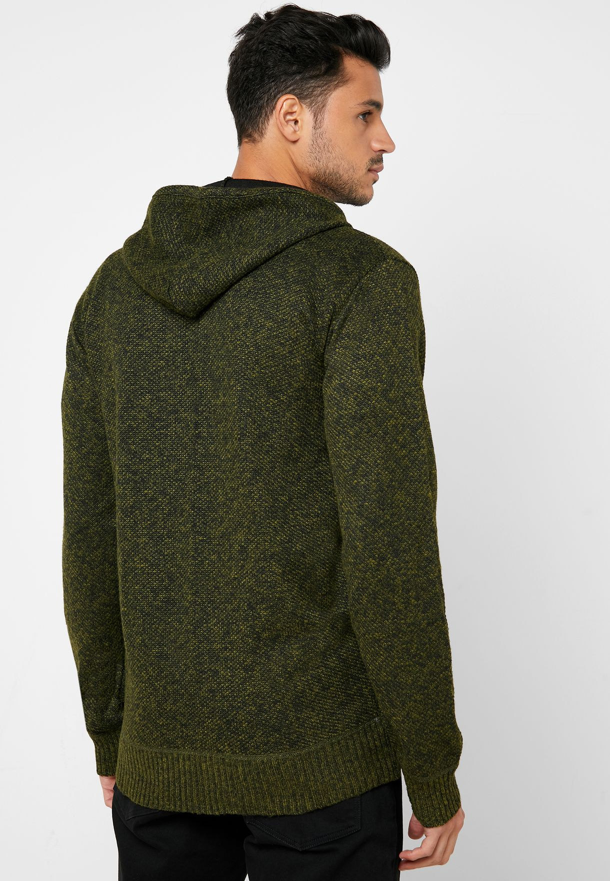 Texture Zip Up Hooded Knit