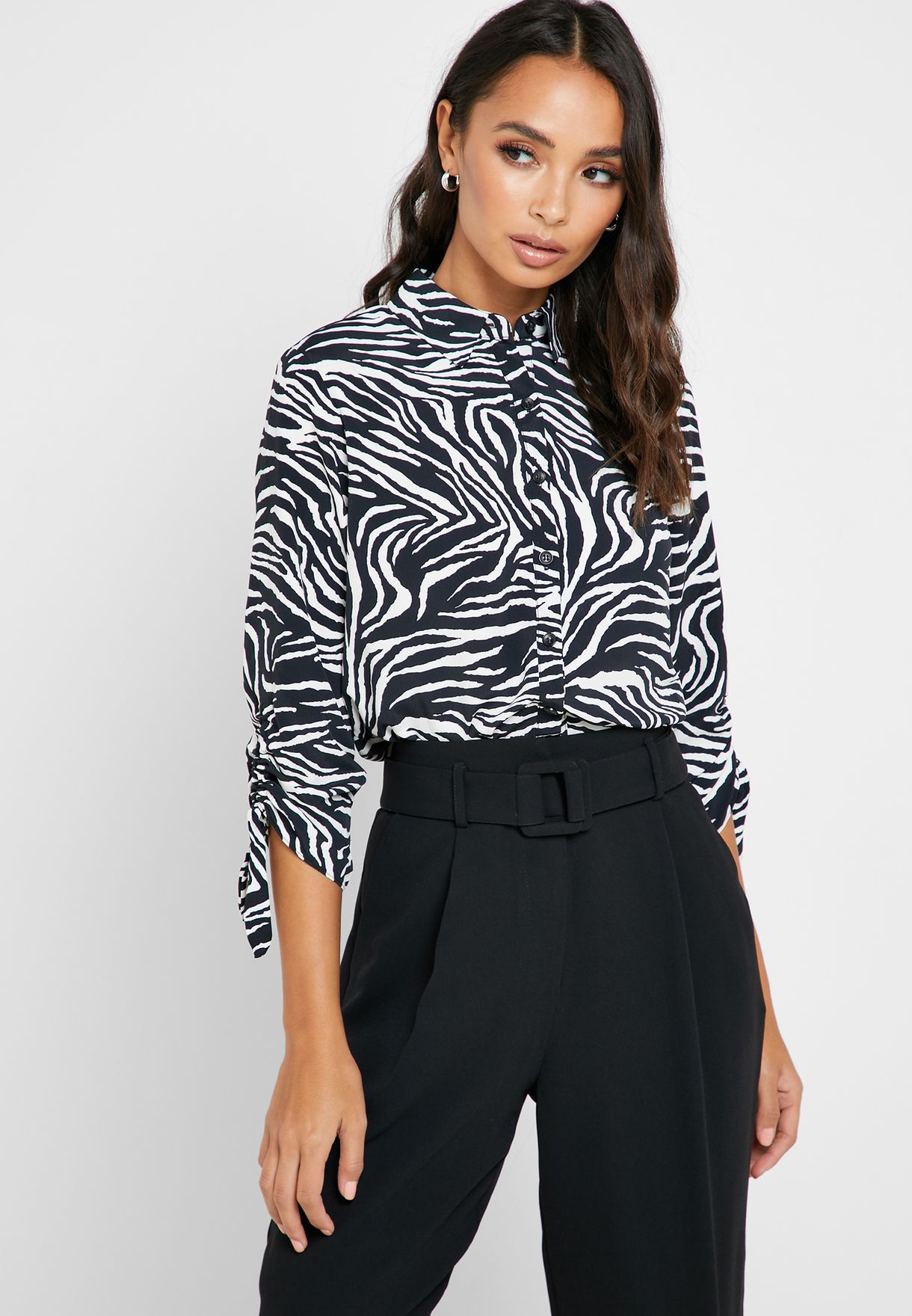 Animal Print Roll Sleeve Shirt