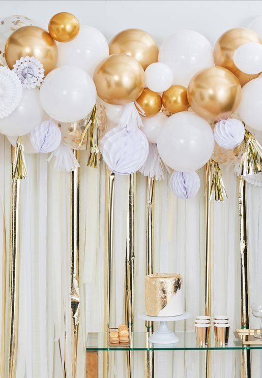 Gold Balloon, Fan And Garland Backdrop