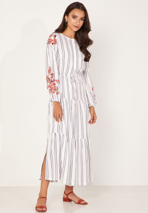 Embroidered Sleeve Striped Dress