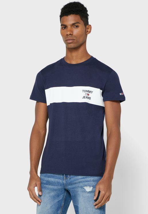 Chest Stripe Logo Crew Neck T-Shirt