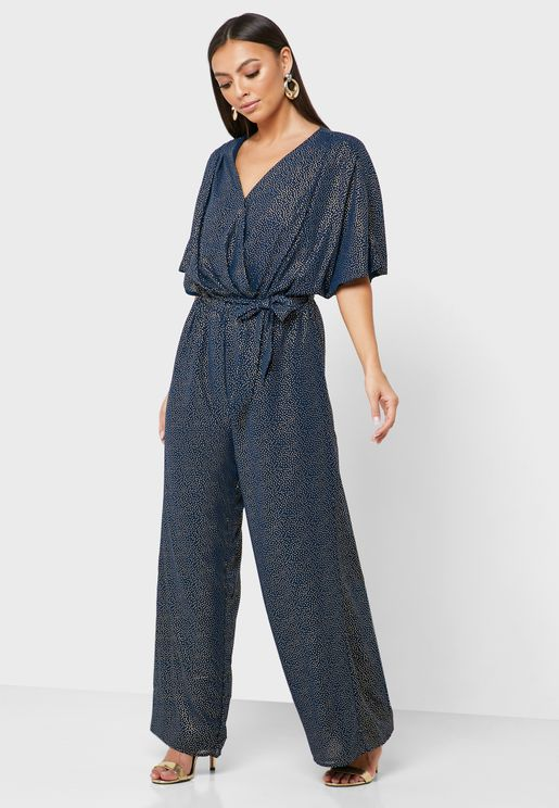 Tie Waist Wide Sleeve Jumpsuit