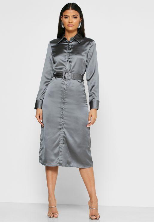 Belted Shirt Midi Dress