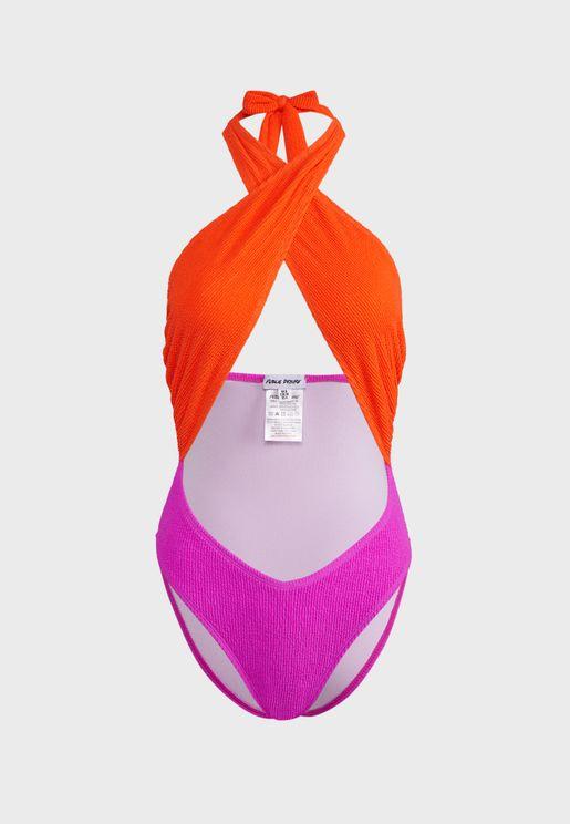 Textured Colourblock Cross Front Swimsuit