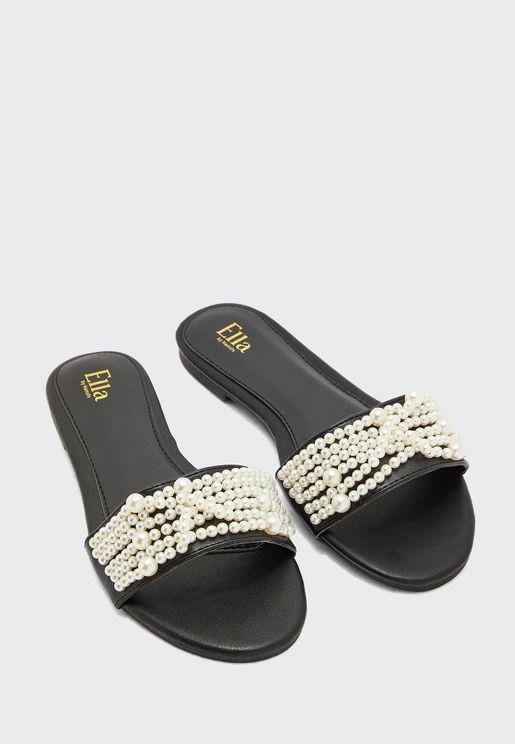 Round Toe Beaded Detail Flat Sandal