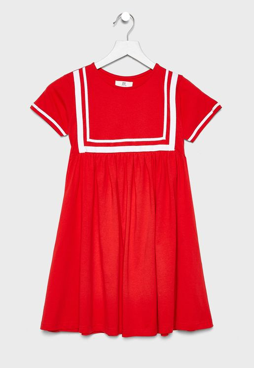 Kids Embroidered Sleeve Dress