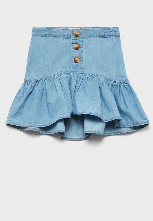 Kids Flare Denim Skirt