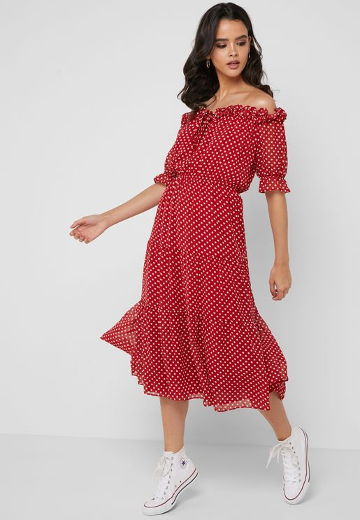 Polka Dot Tiered Bardot Midi Dress