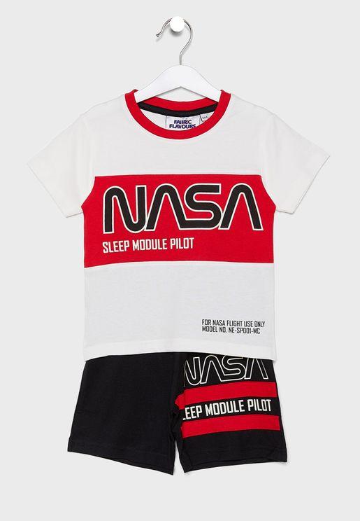 Kids Nasa T-Shirt + Shorts Sets