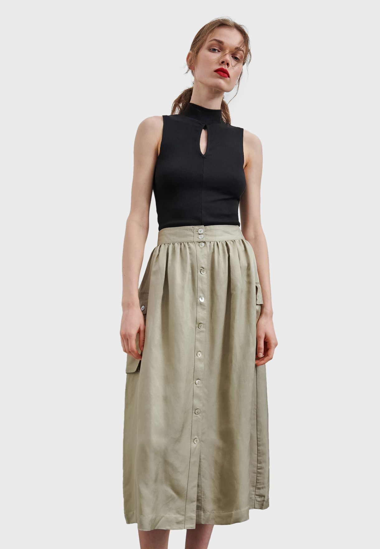 Reserved Button Down Skirt - Fashion