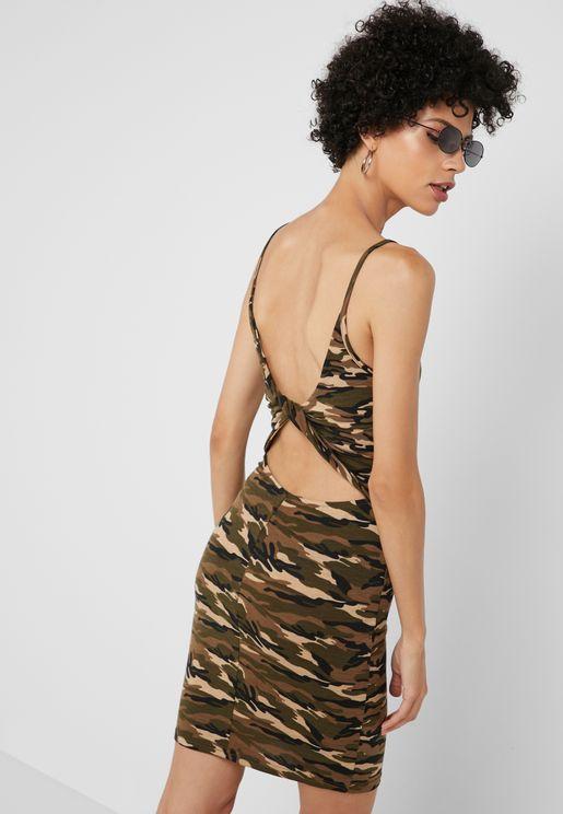 0673ac07f3a Twisted Back Camo Print Dress