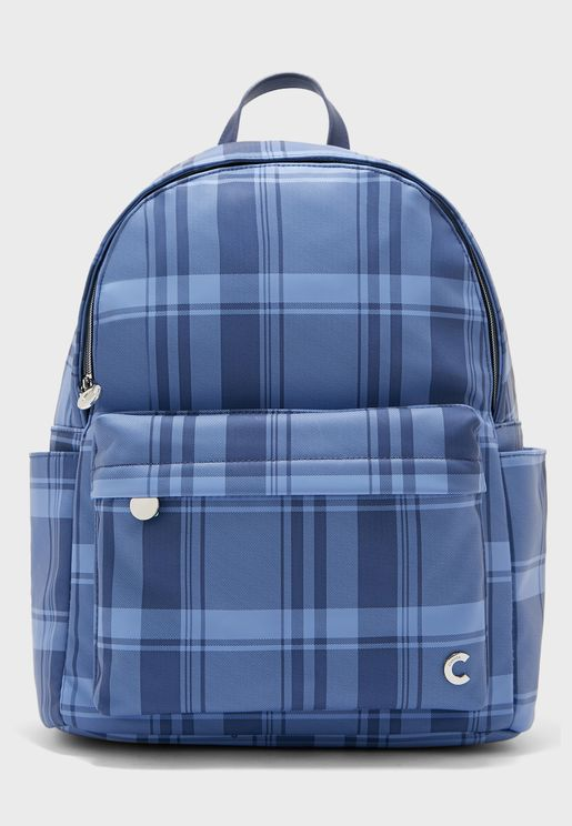 Front Zip Check Print Backpack