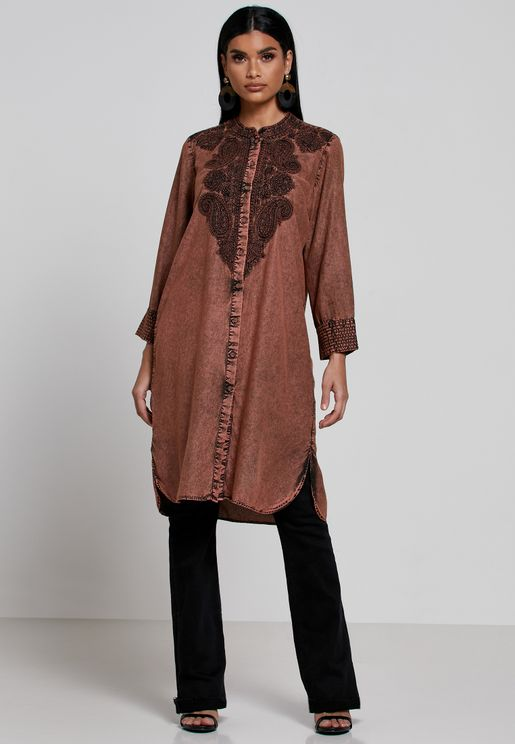 Embroidered Button Detail Kurti