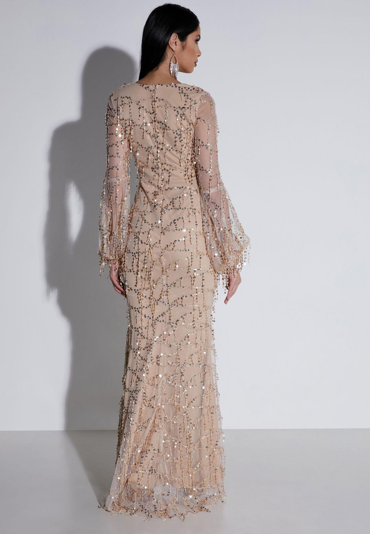 Drop Sequin Wrap Front Maxi Dress