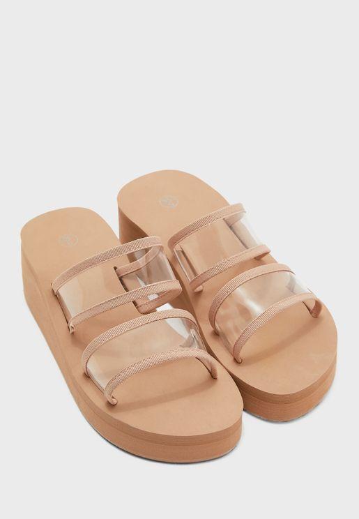 Clear Double Strap Flatform Sandal