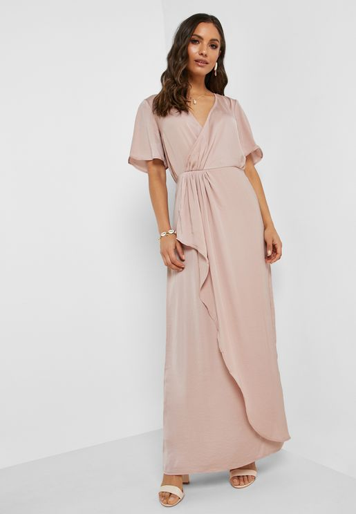 Frill Detail Wrap Maxi Dress
