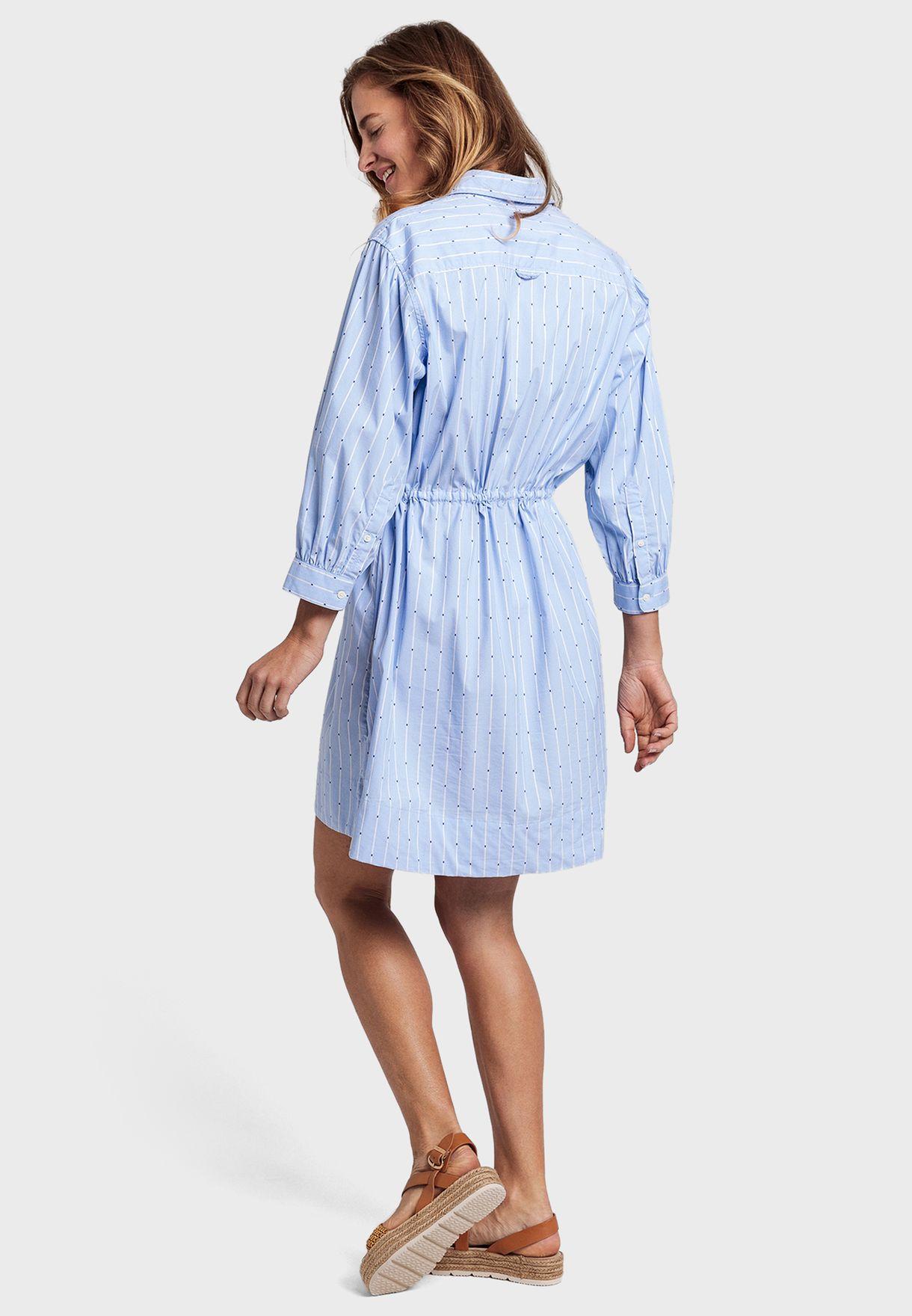 Drawstring Waist Striped Shirt Dress
