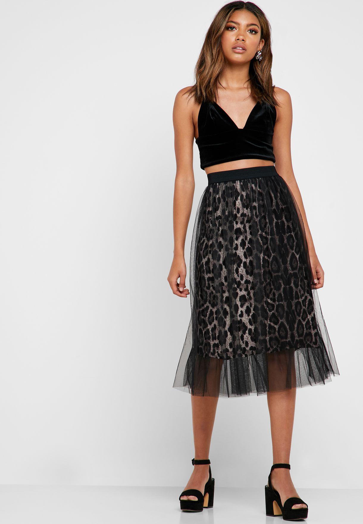 Leopard Print Mesh Overlay Midi Skirt