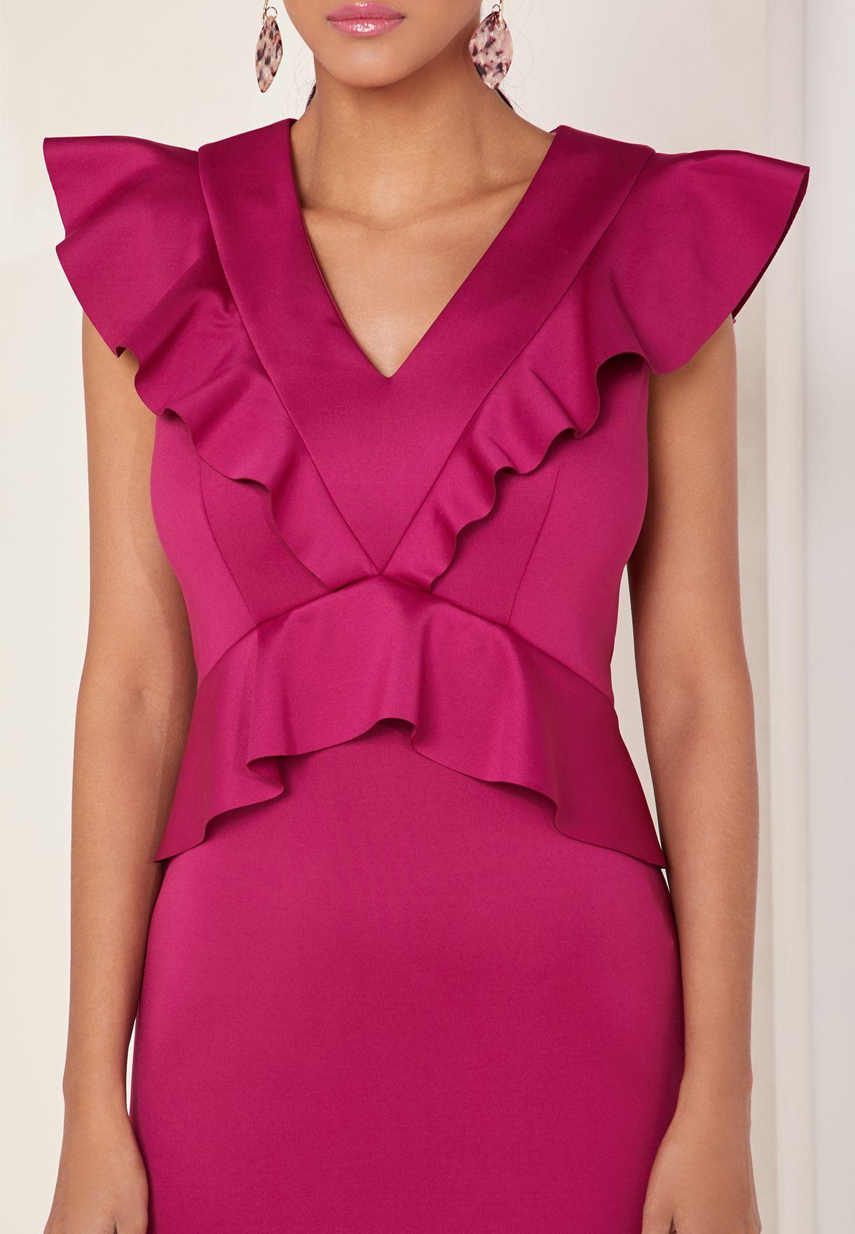 Ruffle Detail Bodycon Dress