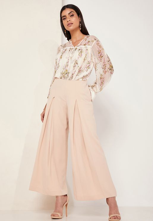 Me Amina Pleated Wide Leg Pants