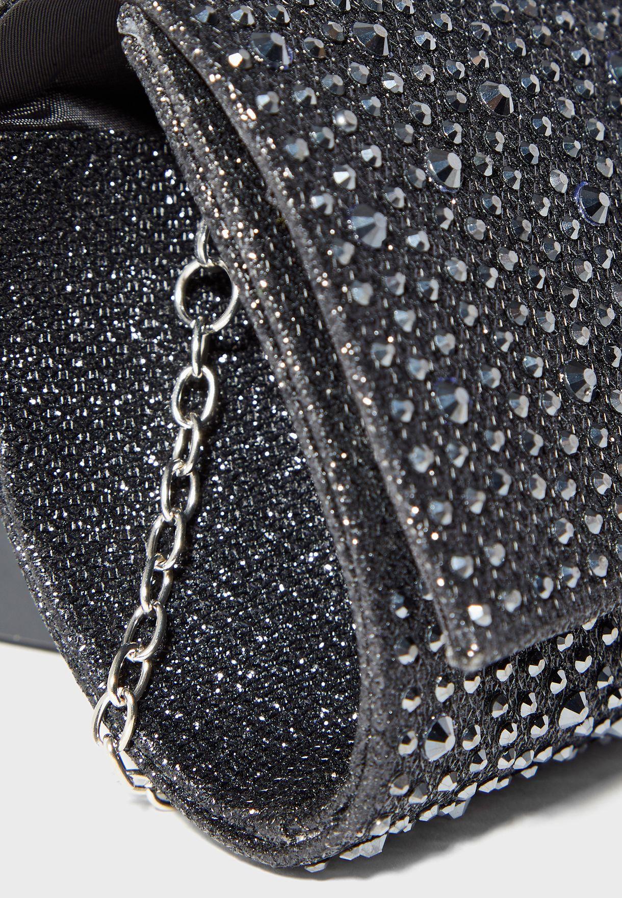 Diamante Satin Clutch Bag