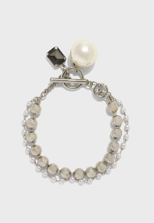 Bracelet With Pearl & Stone Detail