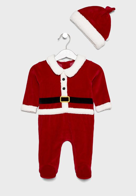 Infant Santa Romper + Hat Set