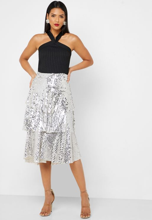 Sequin Tiered Midi Skirt