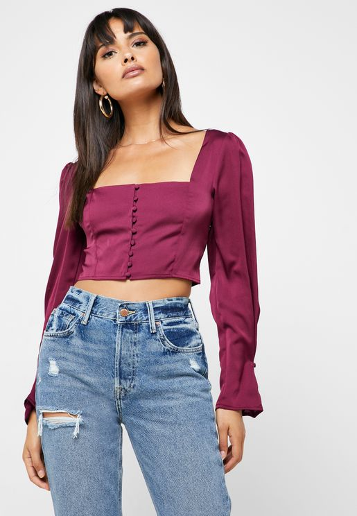 Square Neck Cropped Top