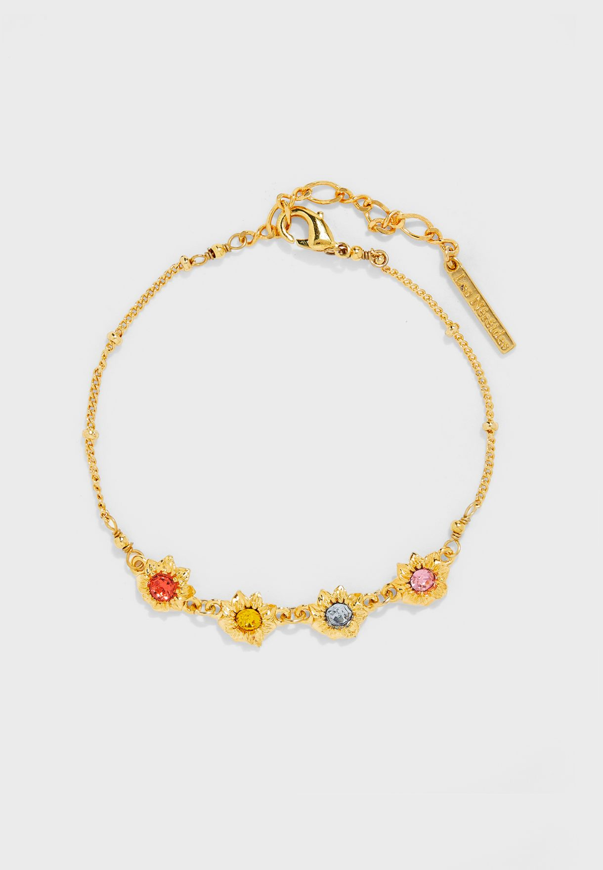 Flowers And Multicolor Stones Thin Bracelet
