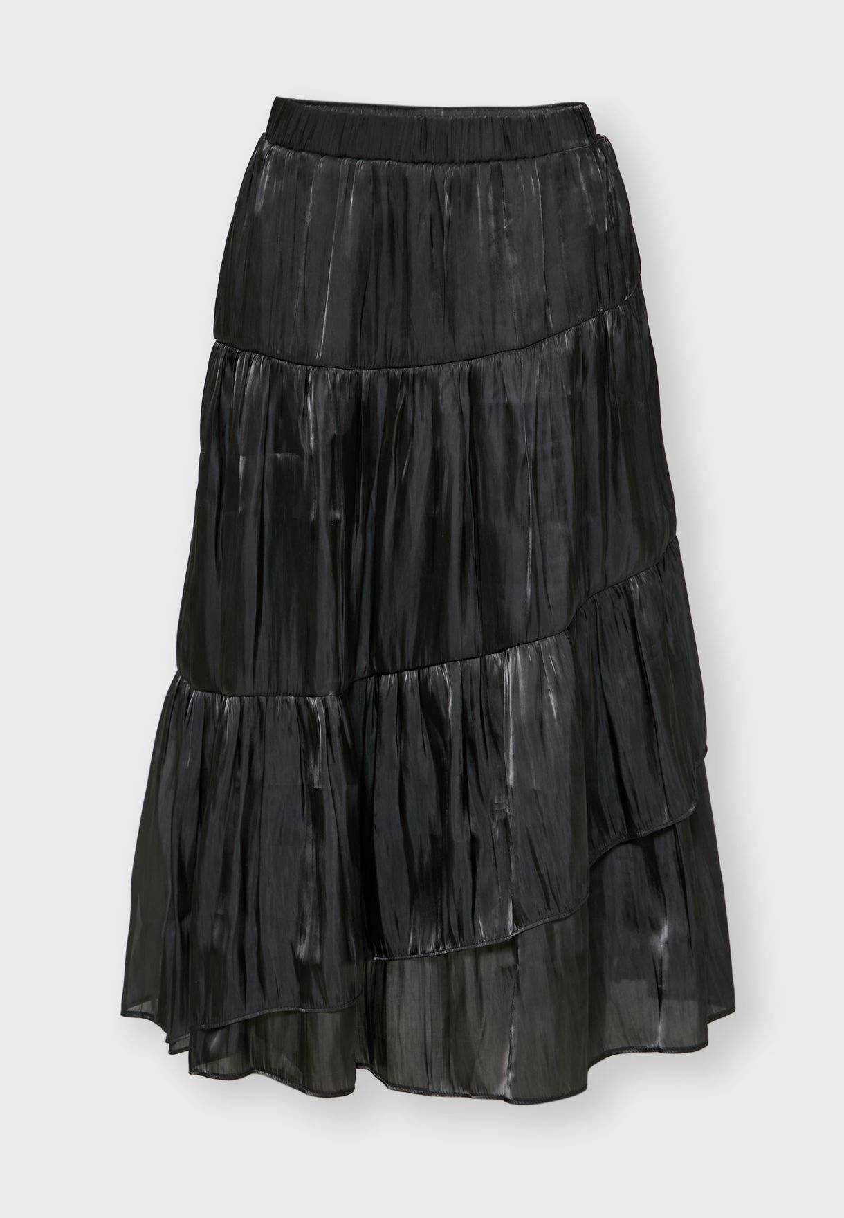 Metallic Tiered Midi Skirt
