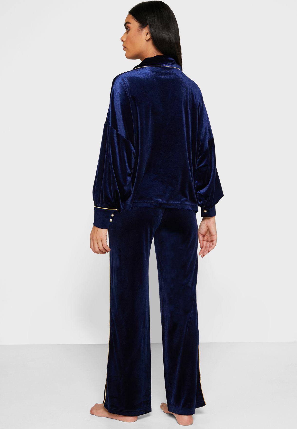 Velvet Shirt Pyjama Set