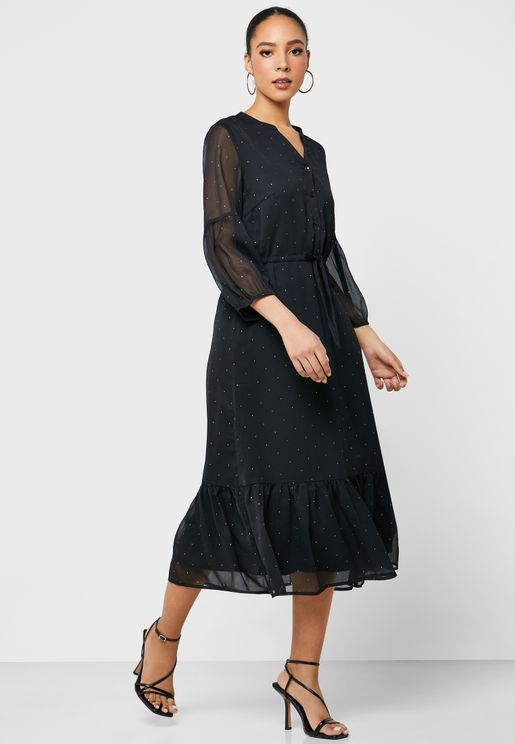 Tie Waist Sheer Sleeve Dot Print Dress