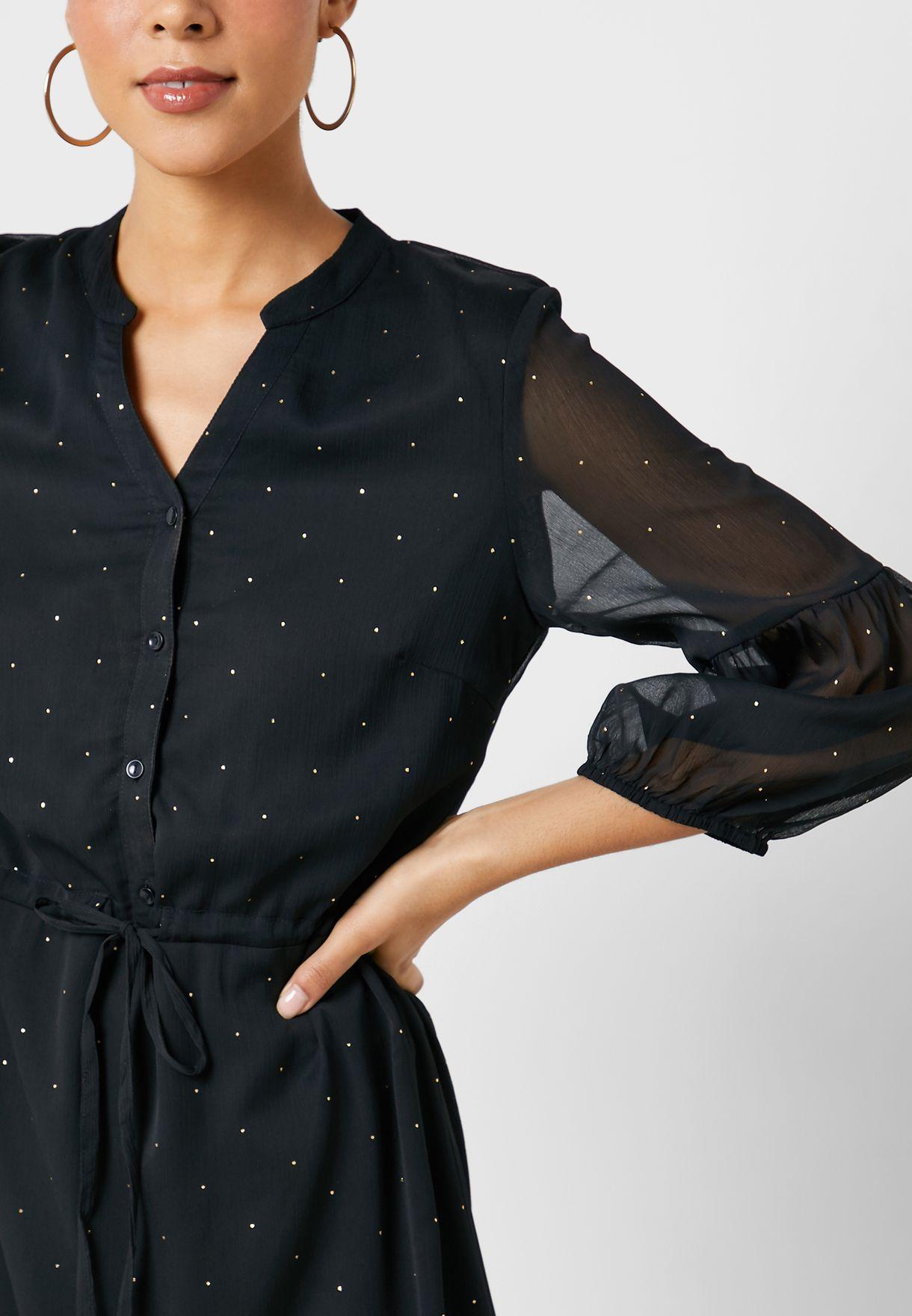 Tie Waist Sheer Sleeve Dot Print Dress