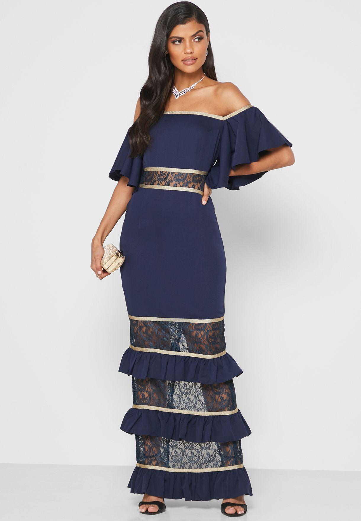 Bardot Flute Sleeve Dress