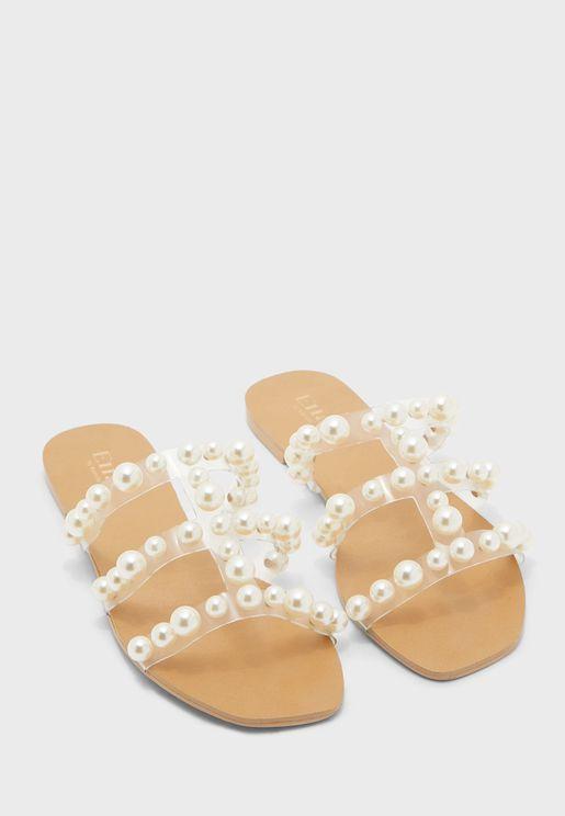 Pearl Triple Strap Square Toe Flat Sandal