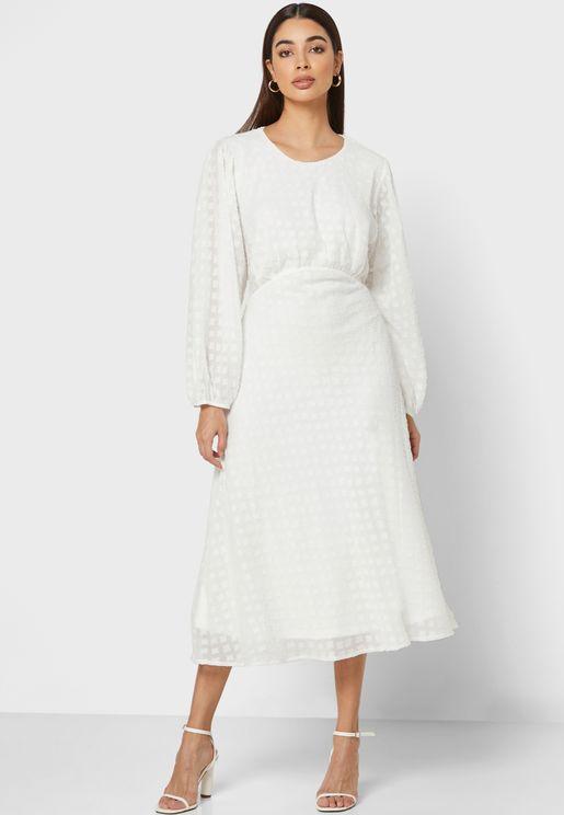 Self Tie Textured Maxi Dress