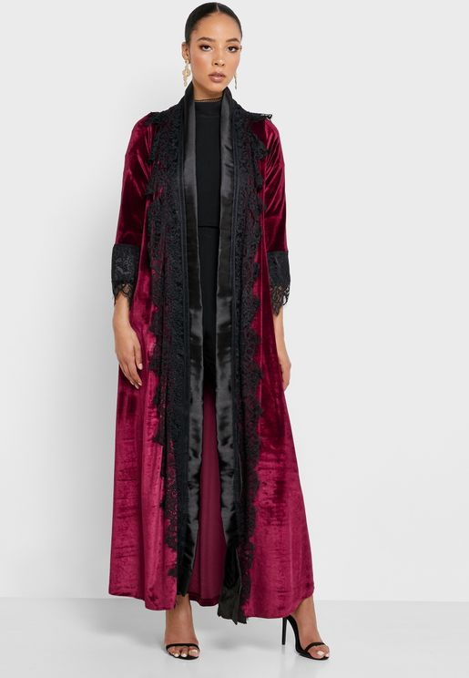 Lace Trim Longline Velvet Kimono
