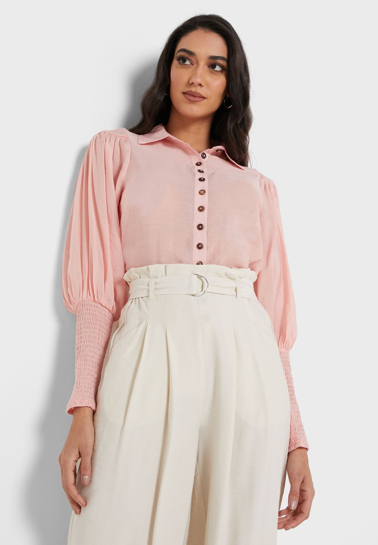 Button Down Shirred Sleeve Top