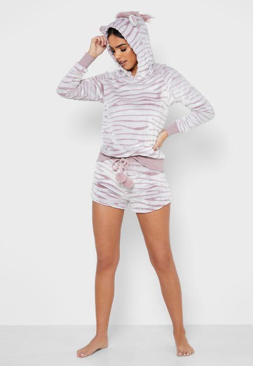 Zebra Plush PJ Set
