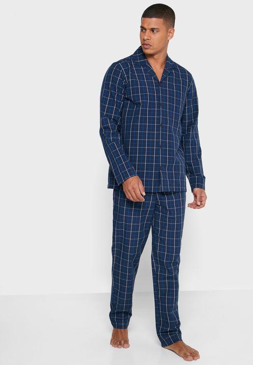 Checked T-Shirt and Pyjama Set