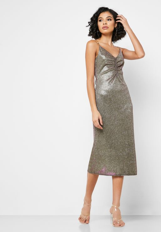 Glitter Ruched Detail Dress