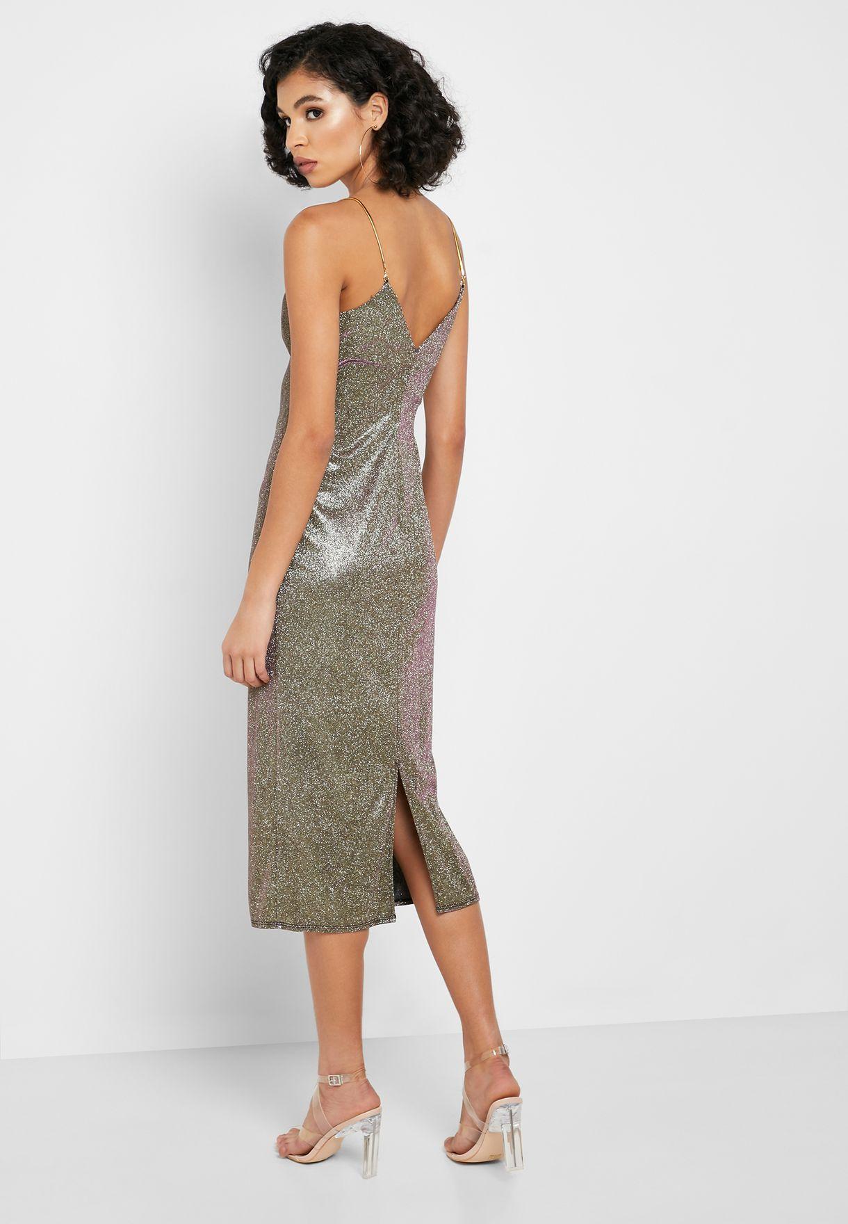 فستان مزموم مزين بالجليتر